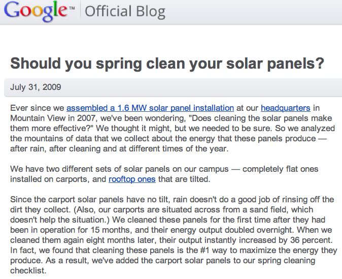 Google Solar Panel Cleaning Evidence