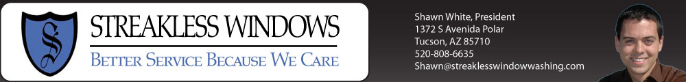 "Streakless Windows Logo Banner shows ""Better Service Because We Care"" is how we operate!"