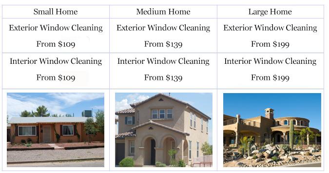 How much is window cleaning in Tucson?
